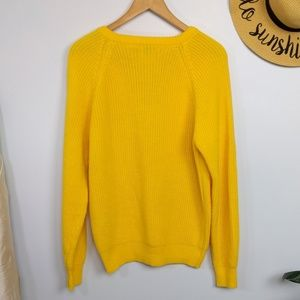 Vintage Sweaters - Vintage Sears Oversized Yellow V Neck Sweater M